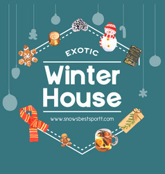 Winter home wreath design with watercolor vector
