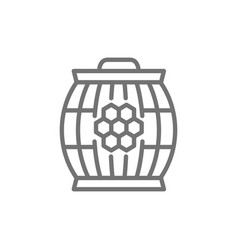 wooden barrel with honey line icon vector image
