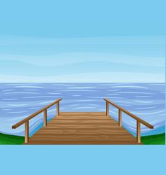 wooden bridge water vector image