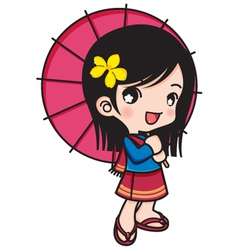 Asia girl smiling with umbrella vector image vector image