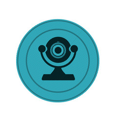blue circular frame with desktop webcam vector image