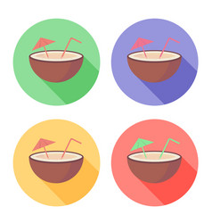 Coconut fruit with straw and umbrella on circle vector