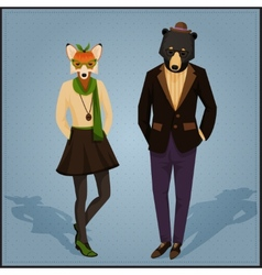 Fashion hipster animals couple vector image