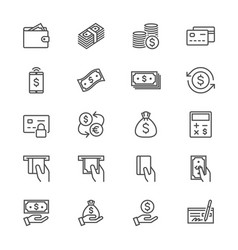money thin icons vector image vector image