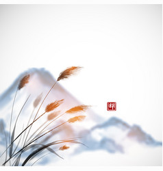 grass and fujiyama mountain hand drawn with ink vector image vector image