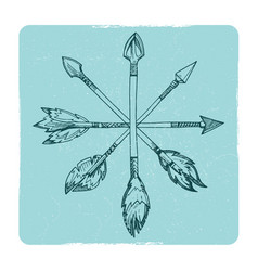 hand drawn boho arrows vector image