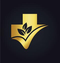 organic leaf cross hospital medic gold logo vector image