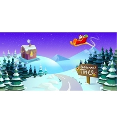 Santa Claus sleigh fly over the forest Christmas vector image