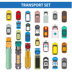 transportation colorful collection on white vector image vector image