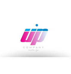 up u p alphabet letter combination pink blue bold vector image vector image