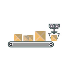 conveyor with packing boxes icon vector image vector image