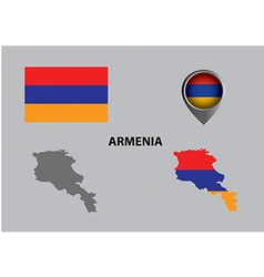 Map of Armenia and symbol vector image vector image