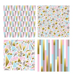 Set of geometric shape backgrounds in gold color vector image vector image