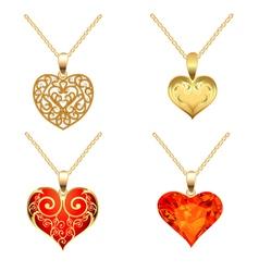 set of pendants with precious stones vector image vector image