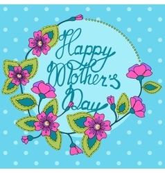 card with floral frame happy mothers day vector image