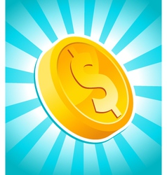 dollar gold coin vector image