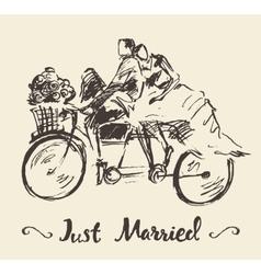 Drawn happy bride groom bicycle sketch vector image