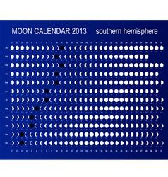 Moon calendar for southern hemisphere vector image vector image