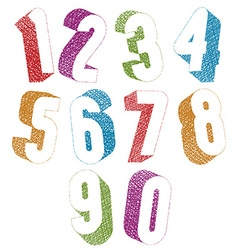 Retro style 3d bold numbers set with hand drawn vector image