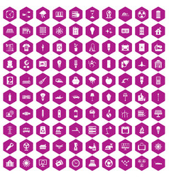 100 electricity icons hexagon violet vector