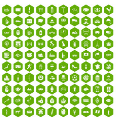 100 tourist attractions icons hexagon green vector