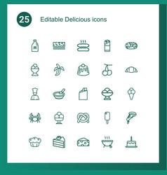 25 delicious icons vector image
