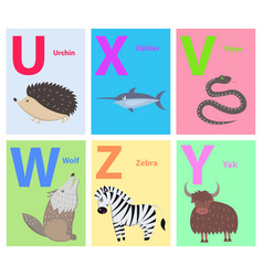 animals on alphabet poster for kids vector image