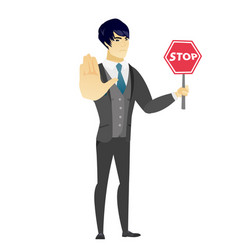 Asian groom holding stop road sign vector