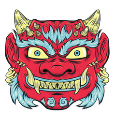 Asian traditional red painted demon mask isoleted vector