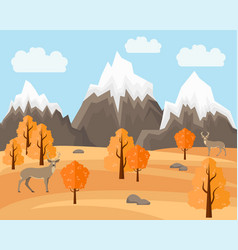 Autumn landscape with deers in flat style vector