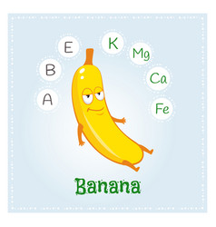 banana fruit vitamins and minerals funny fruit vector image