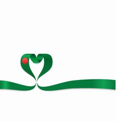 bangladeshi flag heart-shaped ribbon vector image