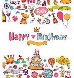 Birthday doodle icons vector