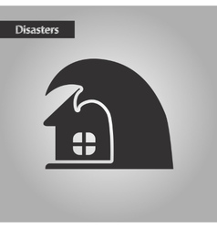 Black and white style tsunami house vector
