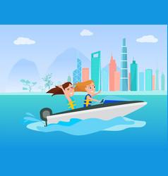 Boating activity in summer vector