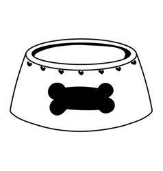 bowl food pet with bone cartoon isolated white vector image