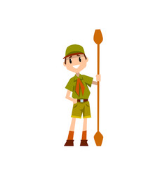 boy scout character in uniform holding paddle vector image