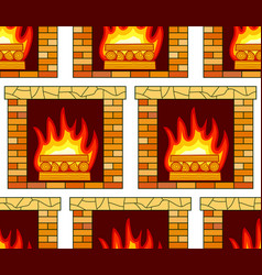 brick fireplace pattern vector image