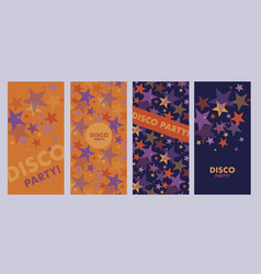 Bright orange and violet star poster templates vector