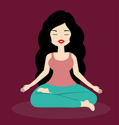 brunette girl meditates relaxed in yoga pose vector image