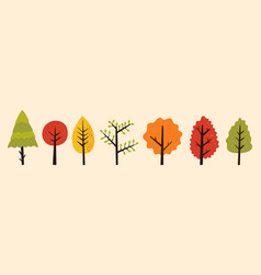 Bundle colorful autumn trees with green red vector