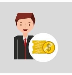 Business man cartoon and coins money vector