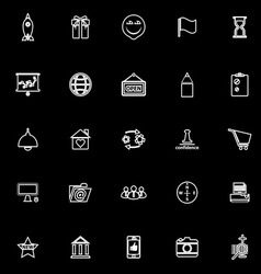 Business start up line icons on black background vector image