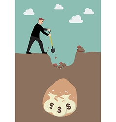 Businessman digging a ground to find a treasure vector