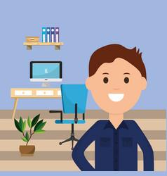businessman office desk computer chair binder vector image