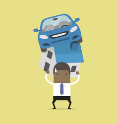businessman with debt carrying a home and car vector image