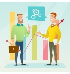 Businessmen discussing market analysis vector