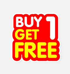 Buy1 get1 free red yellow background image vector