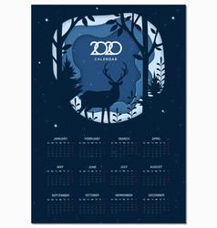calendar 2020 basic grid winter paper cut vector image