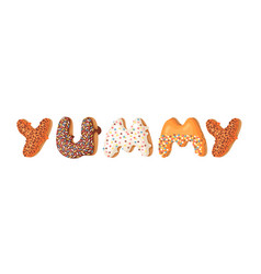 cartoon donut and word yummy vector image